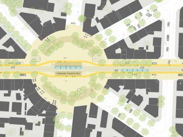 Ideenskizze zur Schweizer Straße in Frankfurt am Main